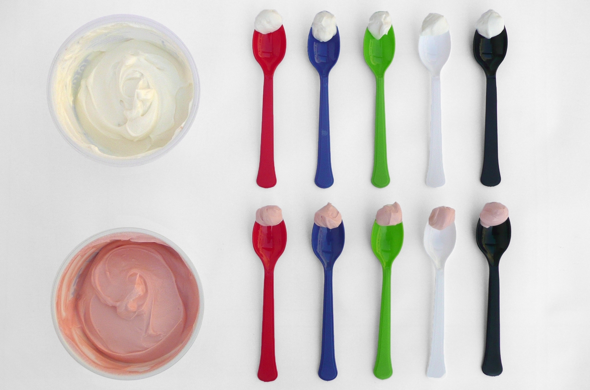 Which spoonful of yogurt looks the tastiest? Studies show people tend to eat less when their dishes are in sharp color-contrast to their food.