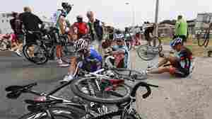 Riders and bicycles were spread across the road after one of the crashes Saturday during Stage 1 of the Tour de France, which began in Corsica.