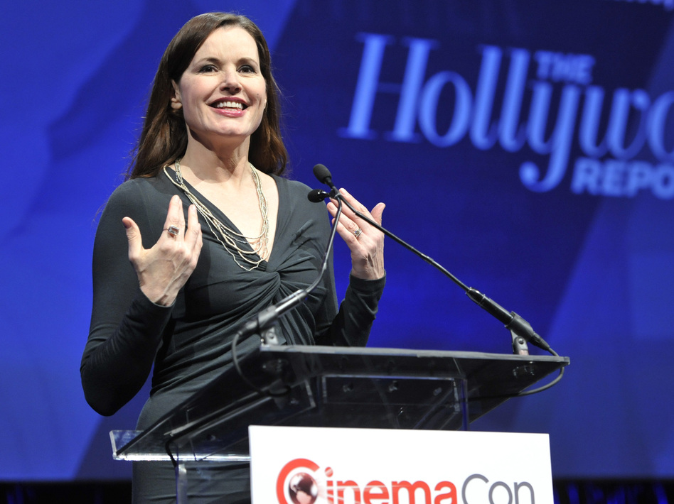 "Actress Geena Davis addresses the audience at the ""Driving Financial Success: Women + Movies = Bigger Box Office"" luncheon at CinemaCon 2013. (AP)"