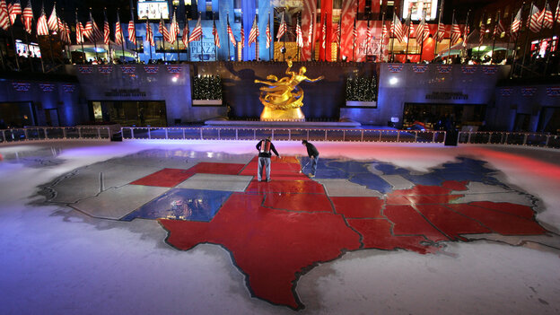 "Texas was decidedly red on the electoral map in NBC News' ""Election Plaza"" in New York's Rockefeller Center in 2008. Do Democrats really have a chance to turn it blue i"