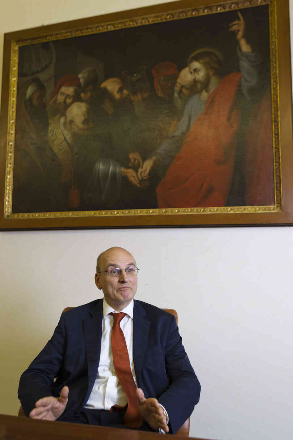 Ernst von Freyberg, president of the Vatican Bank Institute for Works of Religion, or IOR, talks with The Associated Press during an interview June 10 at his office in Vatican City. He was named the bank's interim director on Monday after the director and the deputy director both resigned.