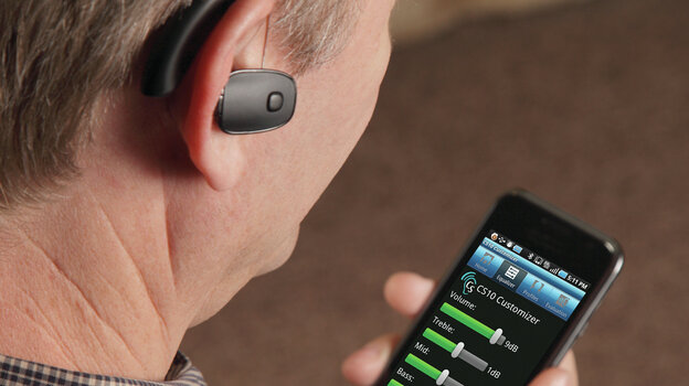 Sound World Solution's hearing device lets a user customize its settings using a Bluetooth connection and a sma