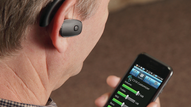 Sound World Solution's hearing device lets a user customize its settings using a Bluetooth connection and a smartphone. (Courtesy of Sound World Solutions)