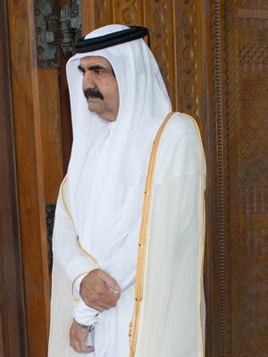 Qatar's former emir, Sheik Hamad bin Khalifa Al Thani, is shown last week in the capital, Doha, shortly before he stepped down on June 25 in favor of his 33-year-old son. Such voluntary abdications are exceedingly rare in the Gulf.