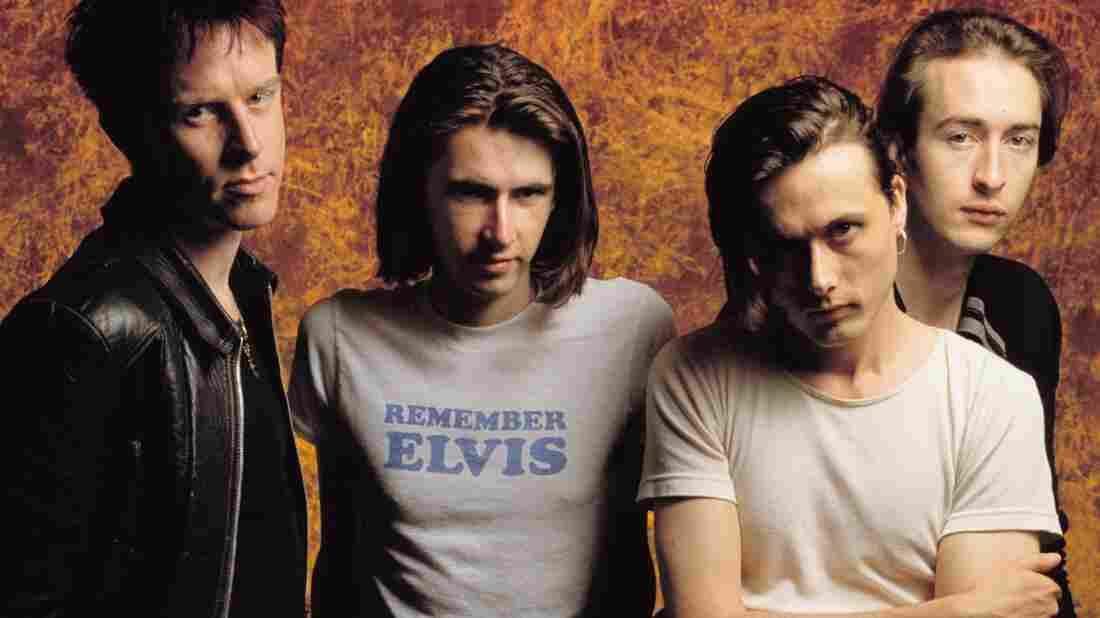 Members of Suede in 1993, left to right: Simon Gilbert, Bernard Butler, Brett Anderson, Matt Osman.