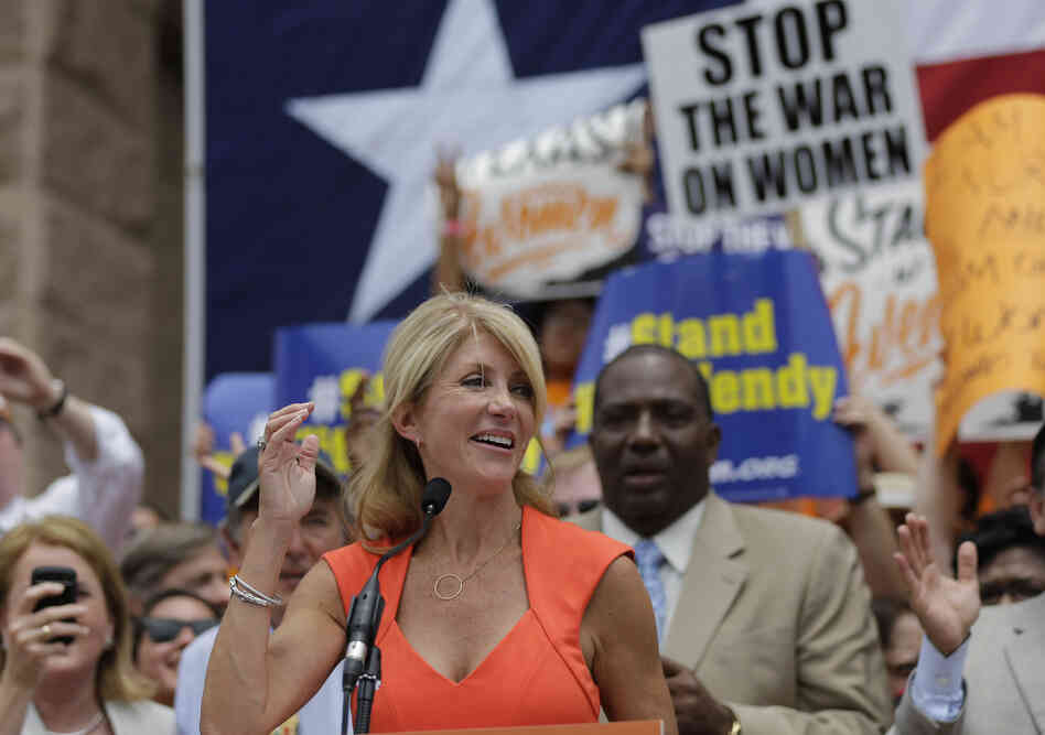 Texas state Sen. Wendy Davis at an abortion-rights rally in Austin on Monday.