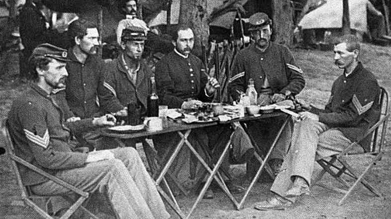 How did the food taste? These faces say it all. Photograph from the main eastern theater of war, Meade in Virginia, August-