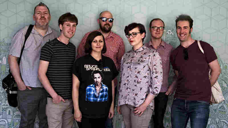 Camera Obscura poses on the set of Morning Becomes Eclectic.