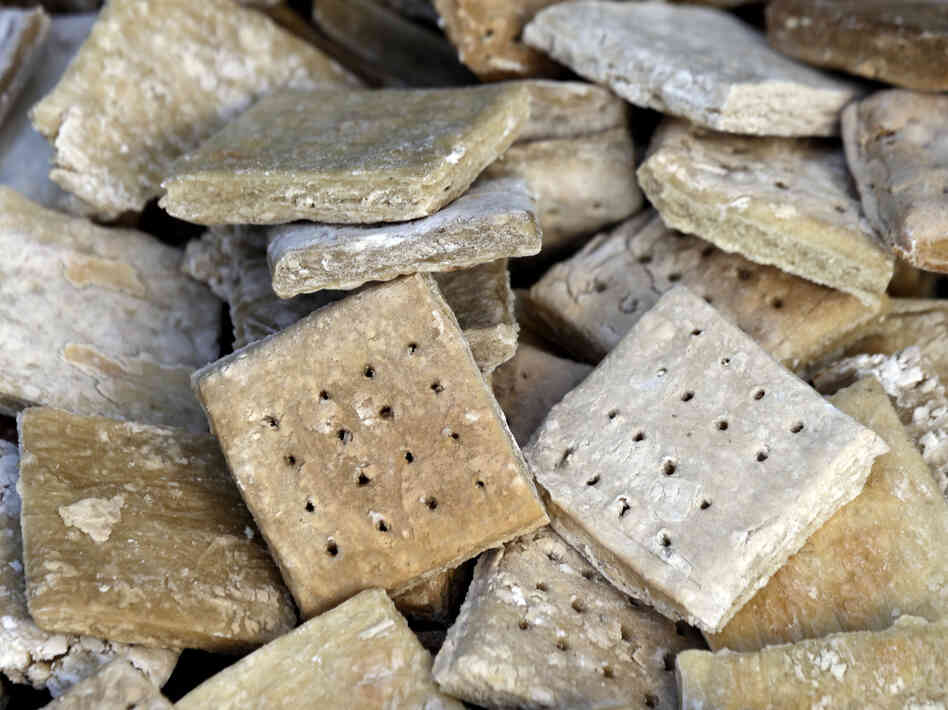 Hardtack was made to last — not to taste good. Here's a re-created ration at Bushey Farm in Gettysburg, Pa.