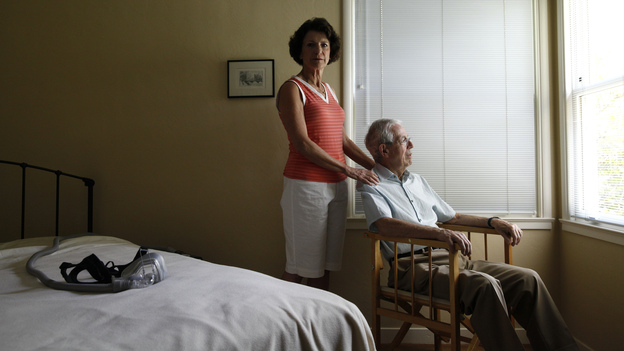 Anne Jones, 62, and Robin Jones, 73, at their home in Menlo Park, Calif. He took a test that revealed proteins typical of Alzheimer's disease. (Ramin Rahimian for NPR)