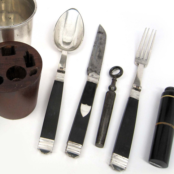 Dig In: This nonregulation Civil War mess kit features a fork, knife, spoon, corkscrew, salt and pepper shaker, and cup enclosed in a mahogany carrying case. The typical kit was much less fancy and looked more like this.