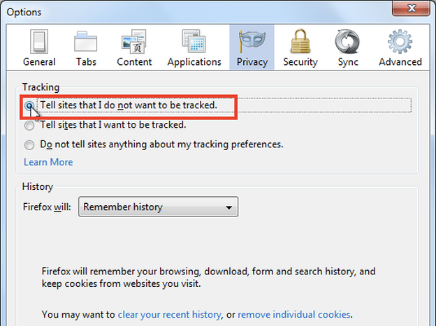Firefox and other Web browsers allow users to opt out of third-party tracking cookies.