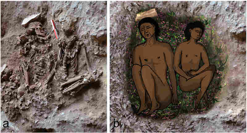 On the left, field photograph of skeletons (adult, on left; adolescent, on right) during excavation. On the right, a reconstruction of the double burial at the time of inhumation. The bright veneer inside the grave on the right, partially covered by green plants.