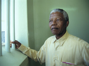 Mandela and other inmates faced harsh conditions during his many years at Robben Island prison. In the final year of his detention, the South African authorities put him in a private cottage where he had a swimming pool a
