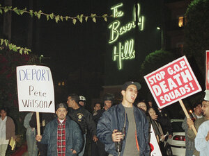 A protest march against presidential hopeful Bob Dole, California Gov. Pete Wilson, and GOP policies concerning AIDS and illegal immigration, outside the Beverly Hills Hotel in 1995.