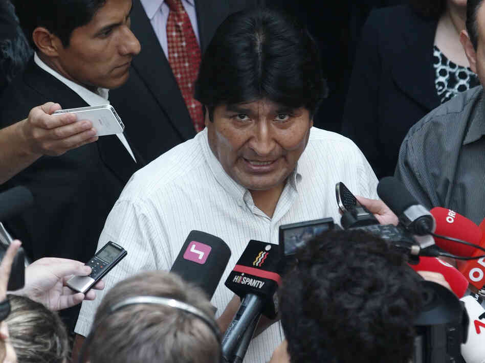 "Bolivian President Evo Morales talked to journalists at the Vienna International Airport on Wednesday. Bolivian officials accused the U.S. of pressuring European authorities to ground the plane, which had taken off from Moscow. It was rumored that ""NSA leaker"" Edward Snowden might be on board."