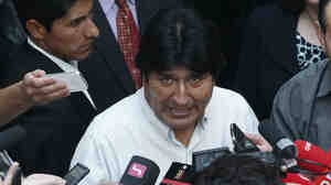 "Bolivian President Evo Morales talked to journalists at the Vienna International Airport on Wednesday. Bolivian officials accused the U.S. of pressuring European authorities to ground the plane, which had taken off from Moscow. It was rumored that ""NSA leaker&q"