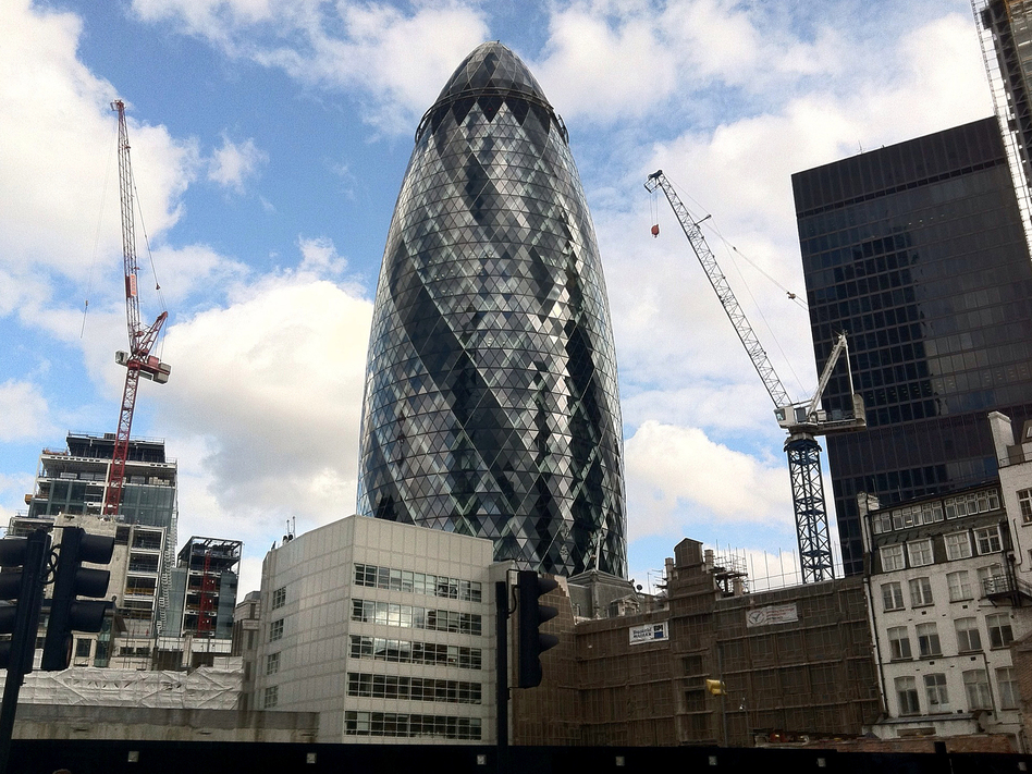 Skyscrapers in the City of London, the heart of the financial district, are reshaping the skyline. (Dan Bobkoff/NPR)