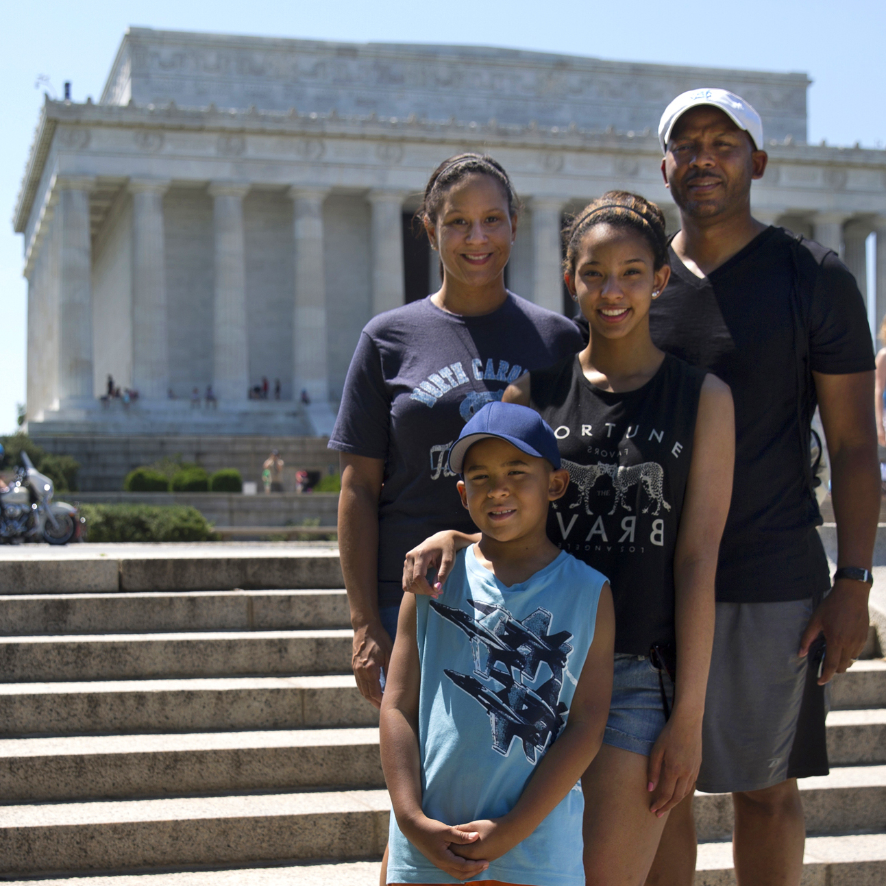 Kara, Michael, Mikaila and Cameron Milton of Greensboro, N.C., pose for a portrait near the Lincoln Memorial on June 21, after reading the Declaration of Independence for Morning Edition.