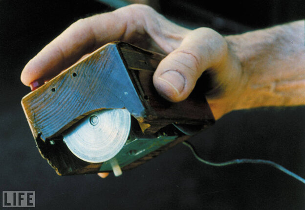 This early version of the mouse (named for its tail-like cord) was assembled by Douglas Engelbart and his Stanford team in 1963.