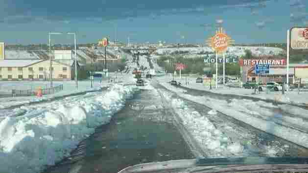 That's a lot of hail: the scene in Santa Rosa, N.M., after the storm blew through Wednesday.