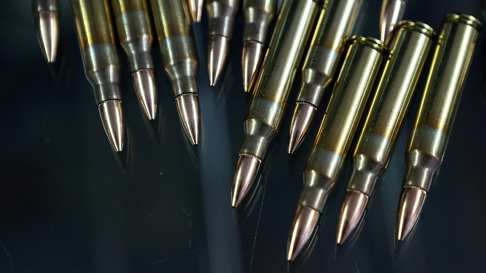 Since the Newtown school shooting in December, gun stores nationwide have had difficulty keeping ammunition, like these .223-caliber rifle bullets, in stock. (Justin Sullivan/Getty Images)