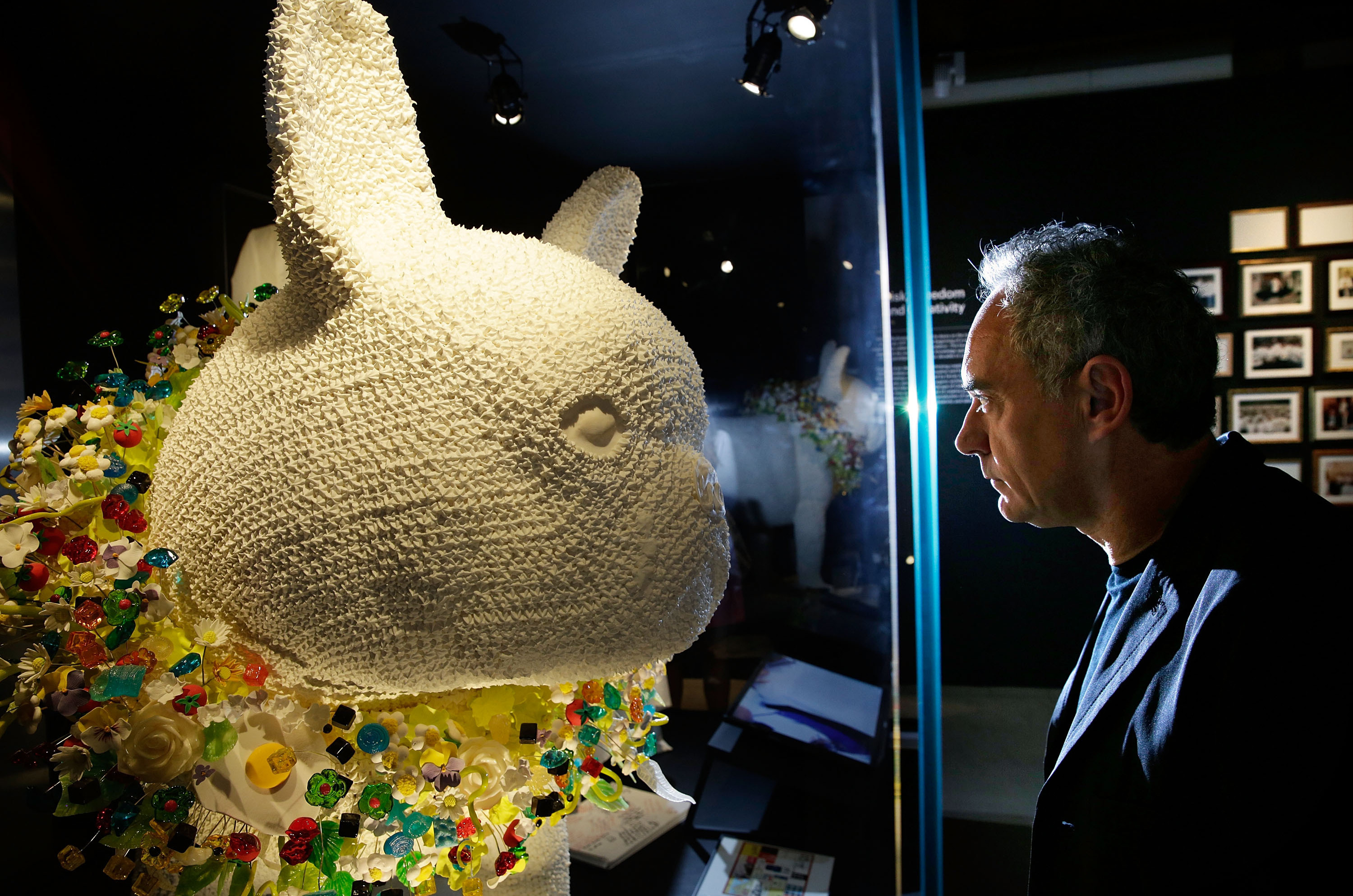 "Ferran Adrià looks at a giant French bulldog made out of meringue, part of the exhibit ""El Bulli: Ferran Adrià and The Art of Food."""
