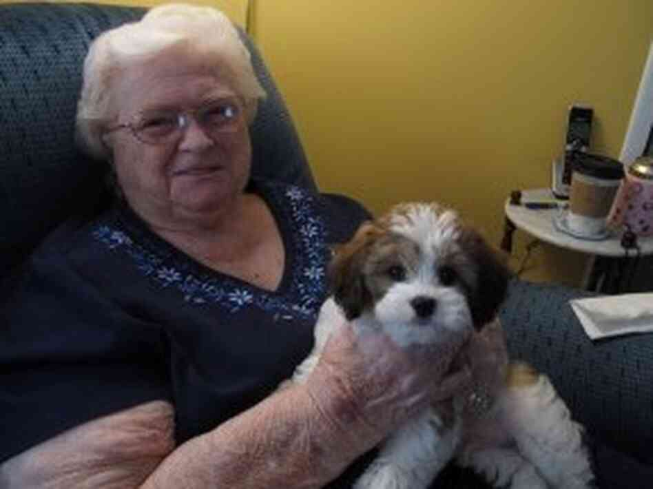 Dorothy Holmes, back home with her new dog, Ja