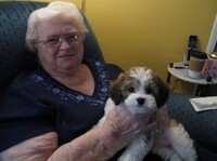 Dorothy Holmes, back home with her new dog, Jack.