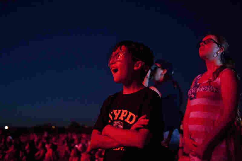 Thousands gathered at the National Mall to watch the show.
