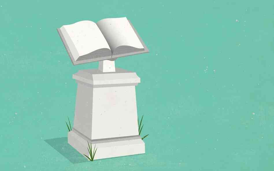 Illustration: sculpture of a book on a pedestal.