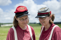Carole Hackett (left) and her twin sister, Cheryl Hackett, from West Virginia, participated in the re-enactment as part of the Confederate Army artillery.
