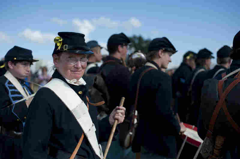 """A Union Army band marches into the """"Crossroads of Destiny"""" battle at the 150th Gettysburg Anniversary National Civil War Battle Re-enactment, on Thursday. The re-enactment activities officially began Thursday and last through Sunday."""