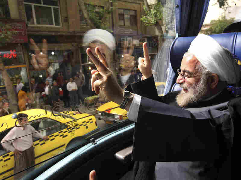 Iran's new president, Hasan Rowhani, tours the western city of Sanandaj on June 10. Rowhani, who easily won last month's election, was considered the most moderate candidate on the ballot.
