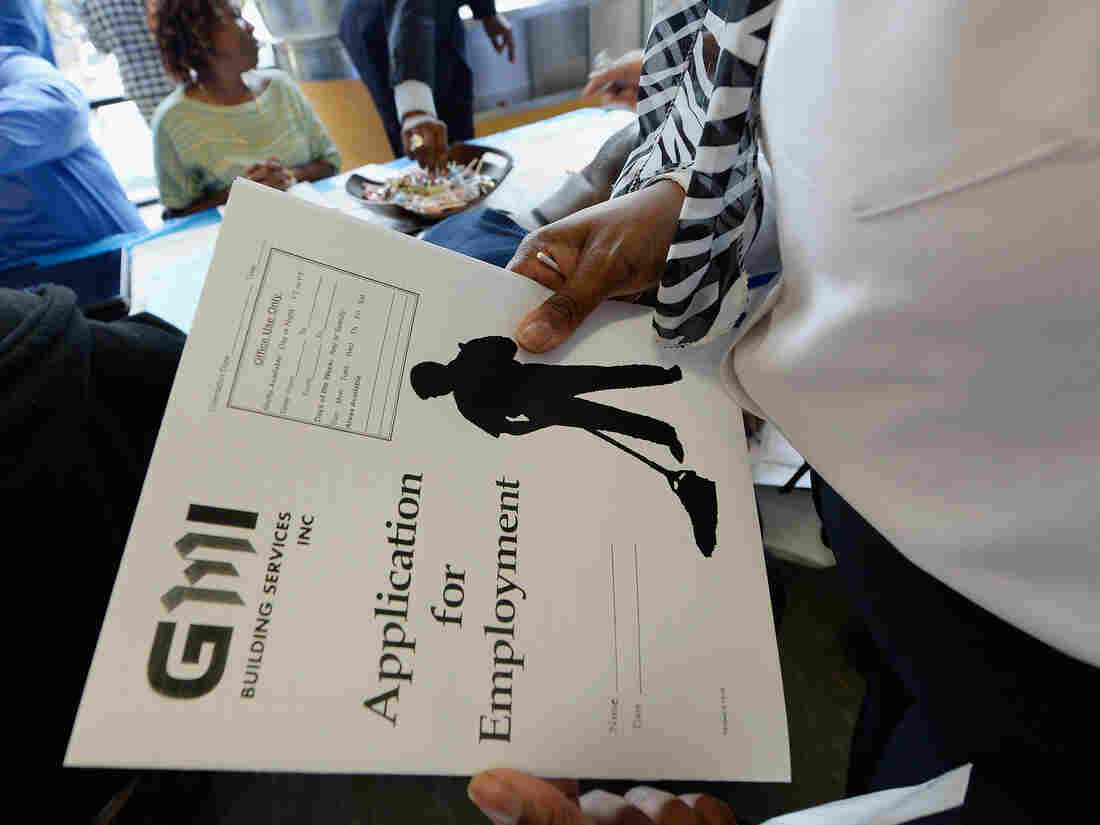 At a job fair in Los Angeles last month, job seekers filled out applications.