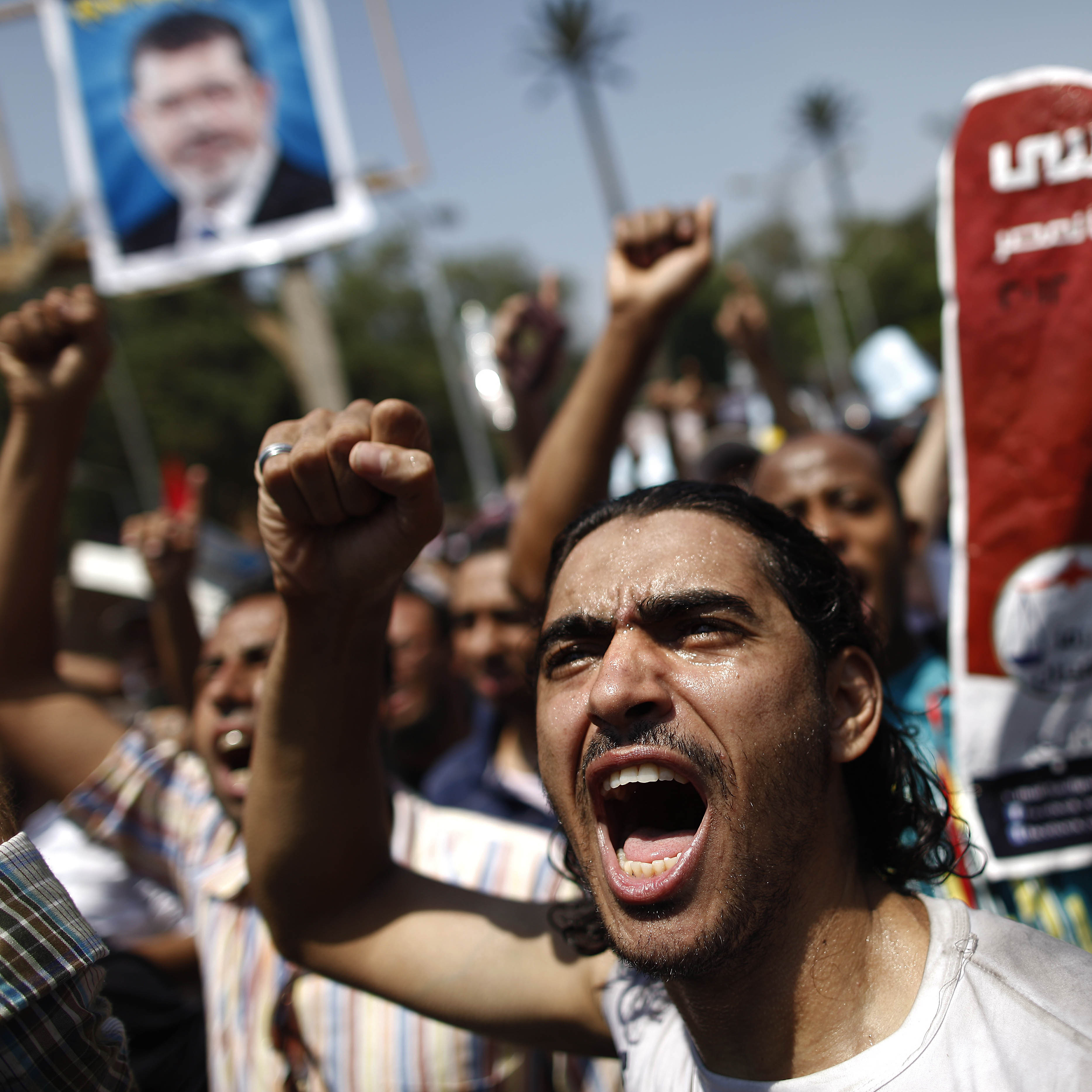 Supporters of the Muslim Brotherhood and ousted President Mohammed Morsi during one of Friday's protests in Cairo.
