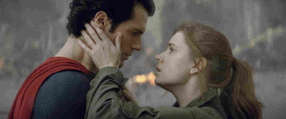 Henry Cavill as Superman and Amy Adams as Lois Lane in the movie Man Of Steel.