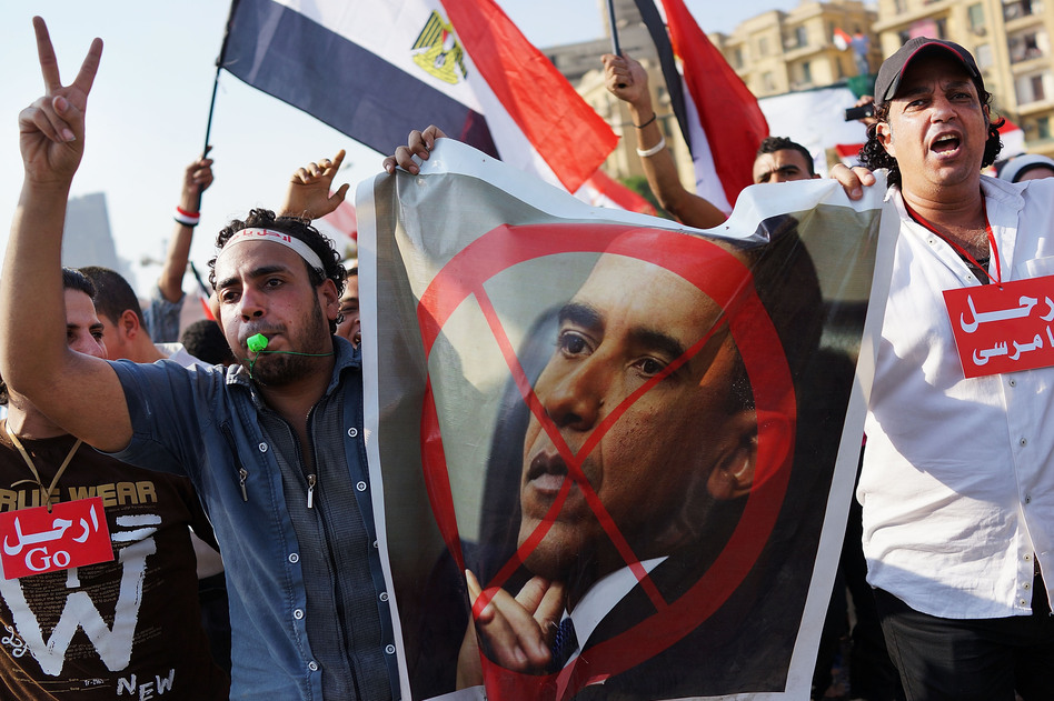 Egyptian protesters celebrate in Tahrir Square on Wednesday. The United States has managed to alienate just about every political actor in Egypt. (Spencer Platt/Getty Images)