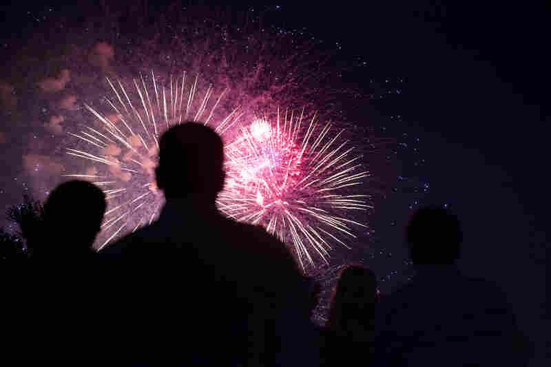 Fireworks light up the sky.