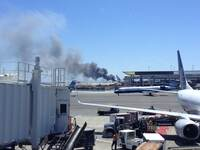 A photo of the aircraft provided by Zach Custer. One witness inside the terminal said travelers couldn't hear the crash, but as soon as they saw the plane