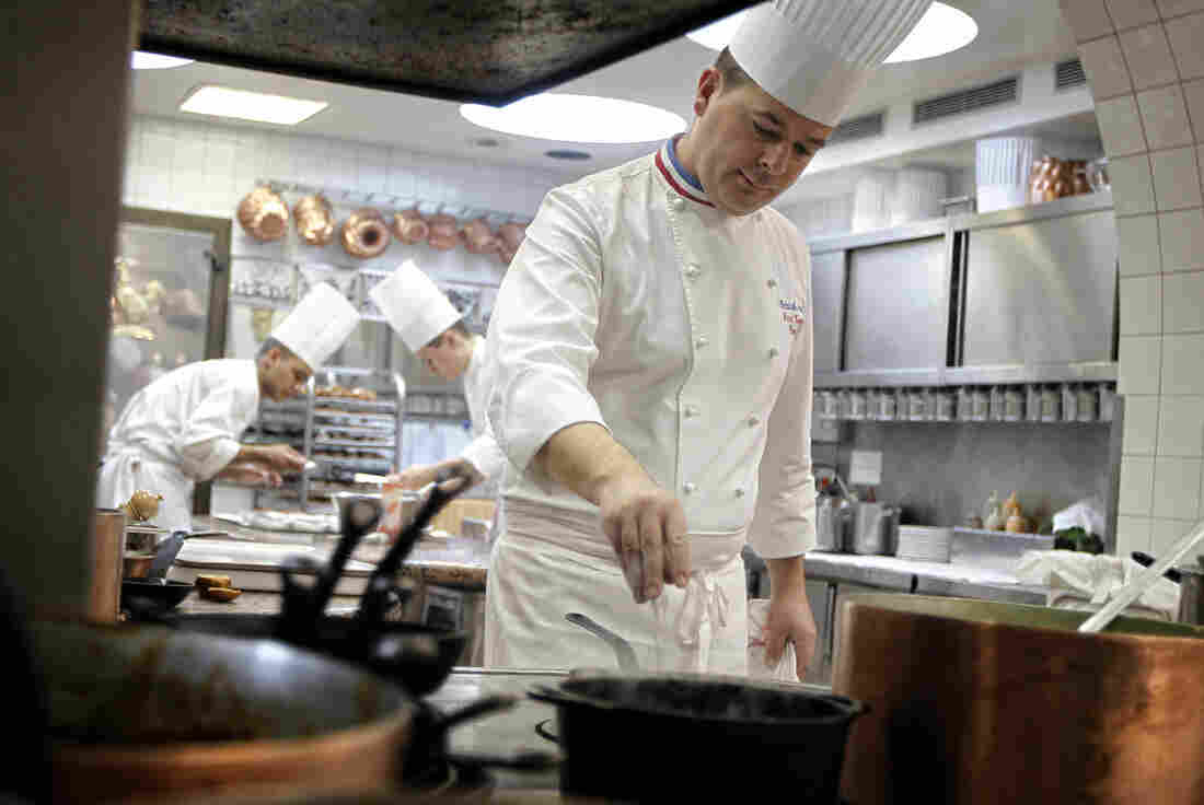 We're guessing microwavable, premade meals are not an issue in this kitchen, at the three-Michelin-star restaurant L'Auberge du Pont de Collonges near Lyon, France.