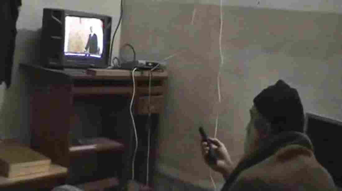 This undated image from video, seized from the walled compound of al-Qaida leader Osama bin Laden in Abbottabad, Pakistan, and released by the U.S. Department of Defense on May 7, 2011, shows bin Laden watching President Obama on television.