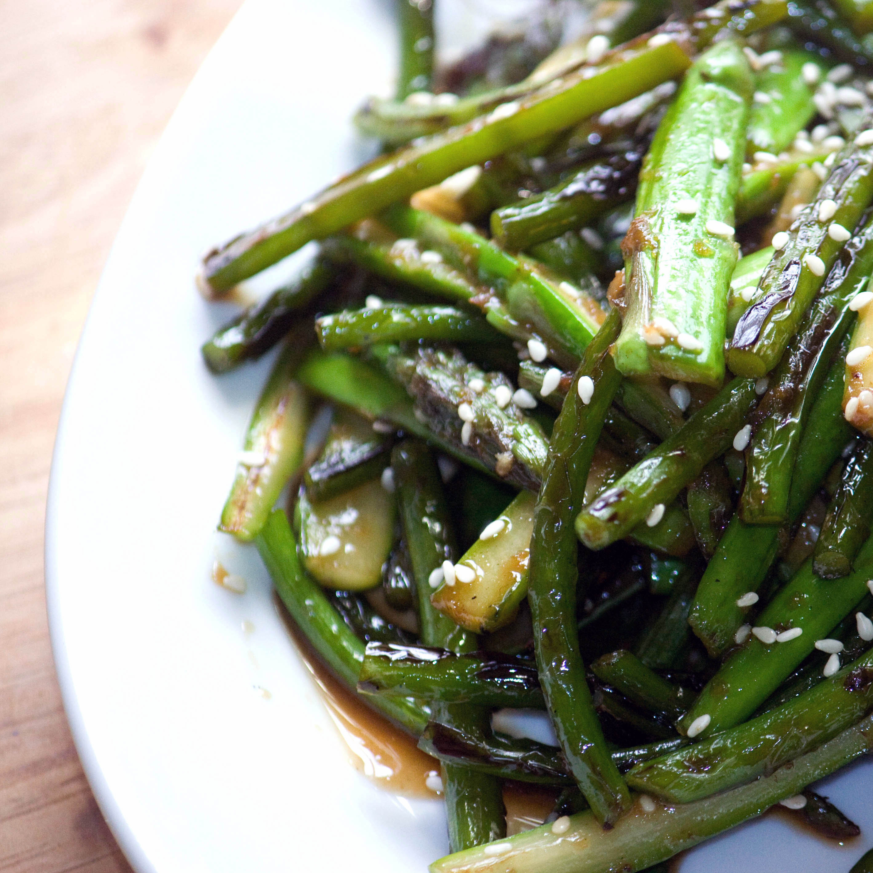 Sesame Ginger Scapes And Asparagus