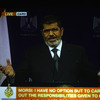 In an image from a video broadcast on Egyptian state TV, President Mohammed Morsi addresses the nation on July 2 — his final speech before the military deposed him.