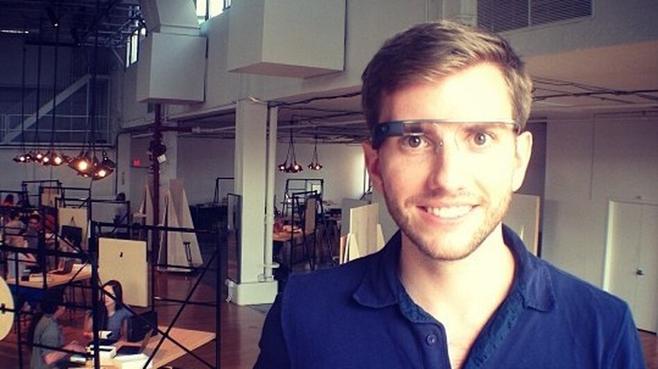 Filmmaker Chris Barrett wearing his Google Glass. He is among the first 1,000 nondeveloper testers of the product.