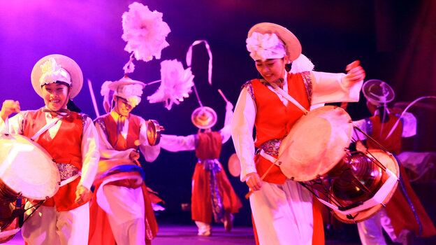 Palsandae, a South Korean troupe, whose wild, very loud music is at times not far removed from the ecstatic free-playing of Sun Ra's Arkestra or the Art Ensemble of Chicago.