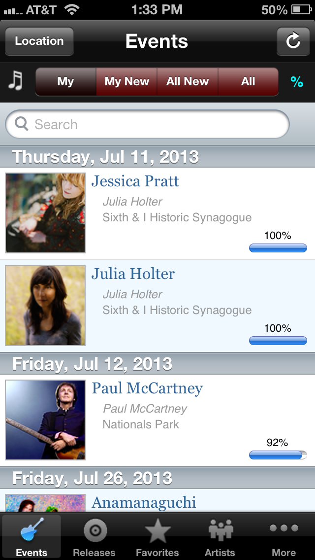 Screenshot of the app BandMate.