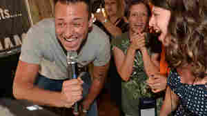 NASHVILLE, TN - JUNE 26: Eric Gunderson of Country/Rock group, Love and Theft enjoy Karaoke with campers during the ACM Lifting Lives Music Camp - Karaoke with Love and Theft at Winners on June 26, 2013 in Nashville, Tennessee. (Photo by Rick Diamond/Getty Images for ACM)