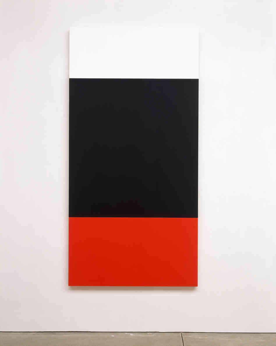 Ellsworth Kelly, White Black Red, 2004. Oil on canvas, three joined panels, 81 3/8 x 40 1/2 inches. Private collection.