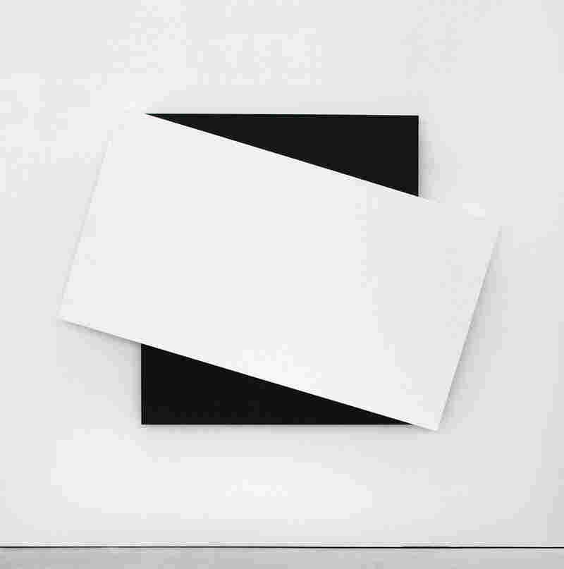 Ellsworth Kelly, White Diagonal II, 2008. Oil on canvas, two joined panels, 66 1/2 x 91 x 2 5/8 inches. Private collection.